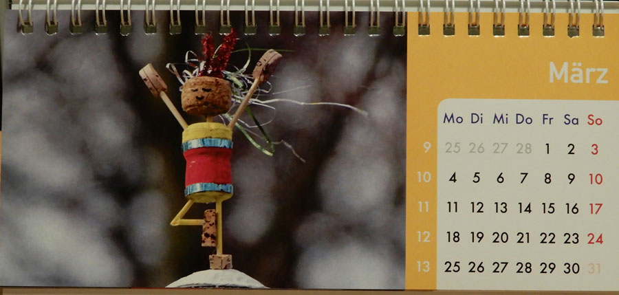 Korkmännchen Kalender 2019 März